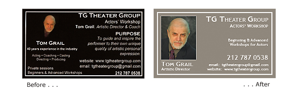 Before and After: Tom Grail business card