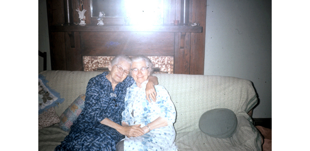 "Original Scanned Photo, ""Two Women Sitting on a Sofa"""